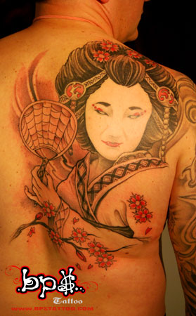 Back Piece Geisha Japanese Tattoo 7